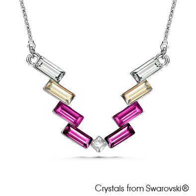 Victory Baguette Necklace Fuchsia Pure Rhodium Plated Lush Addiction Crystals from Swarovski