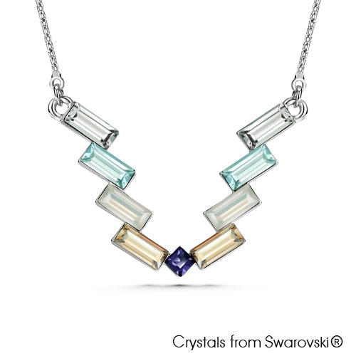Victory Baguette Necklace Multi Colour ure Rhodium Plated Lush Addiction Crystals from Swarovski