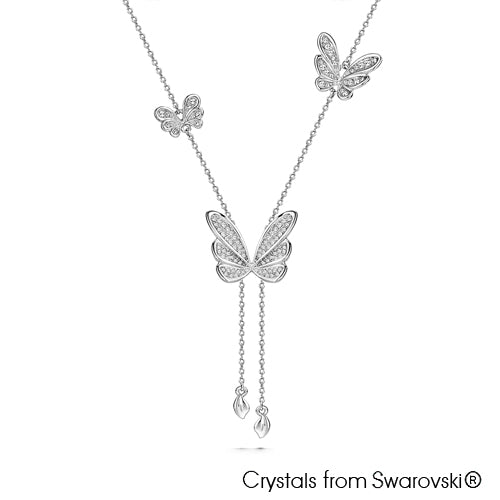 Butterfly Dance Necklace (Clear Crystal, Pure Rhodium Plated) - Lush Addiction, Crystals from Swarovski