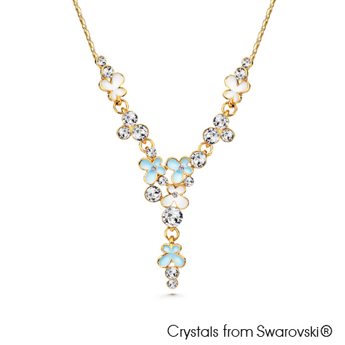 Spring Necklace Aquamarine 18K Gold Plated Lush Addiction Crystals from Swarovski