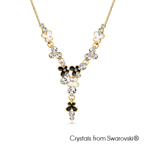 Spring Necklace Jet 18K Gold Plated Lush Addiction Crystals from Swarovski