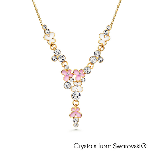 Spring Necklace Rose 18K Gold Plated Lush Addiction Crystals from Swarovski