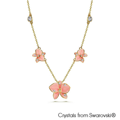 Sweet Dendro Necklace Light Rose 18K Gold Plated Lush Addiction Crystals from Swarovski