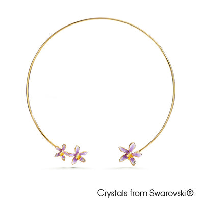 Cattleya Orchid Necklace Tanzanite 18K Gold Plated Lush Addiction Crystals from Swarovski