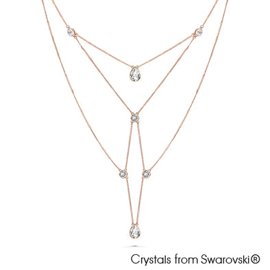Cobweb Necklace (Clear Crystal, Rose Gold Plated) - Lush Addiction, Crystals from Swarovski®