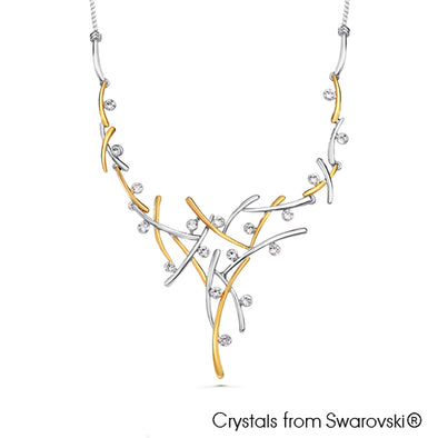 Aura Statement Necklace (Clear Crystal, Pure Rhodium and 18K Gold Plated) - Lush Addiction, Crystals from Swarovski®