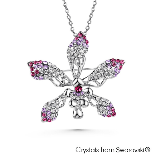 Cattleya Necklace (Amethyst, Pure Rhodium Plated) - Lush Addiction, Crystals from Swarovski