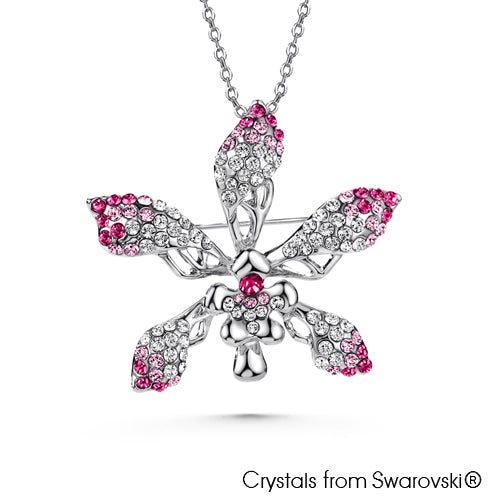 Cattleya Necklace (Rose, Pure Rhodium Plated) - Lush Addiction, Crystals from Swarovski