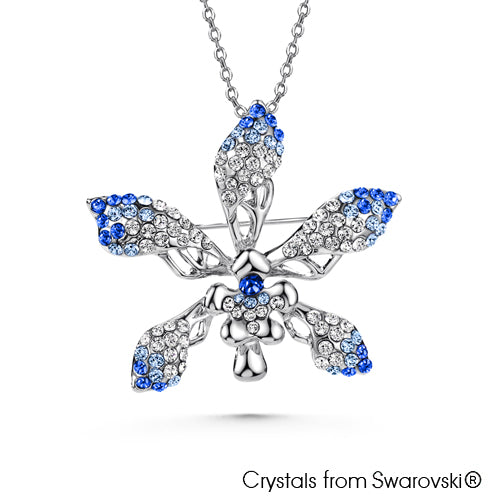 Cattleya Necklace (Sapphire Pure Rhodium Plated) - Lush Addiction, Crystals from Swarovski