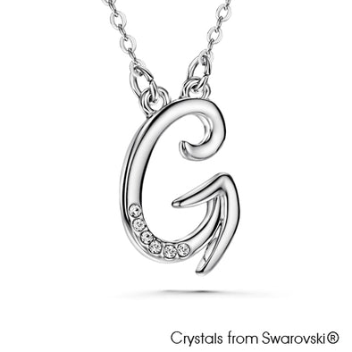 Alphabet G Necklace (Clear Crystal, Pure Rhodium Plated) - Lush Addiction, Crystals from Swarovski®