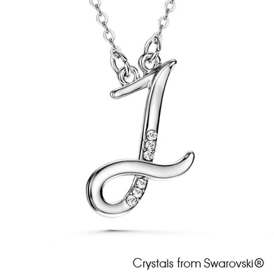Alphabet J Necklace (Clear Crystal, Pure Rhodium Plated) - Lush Addiction, Crystals from Swarovski®