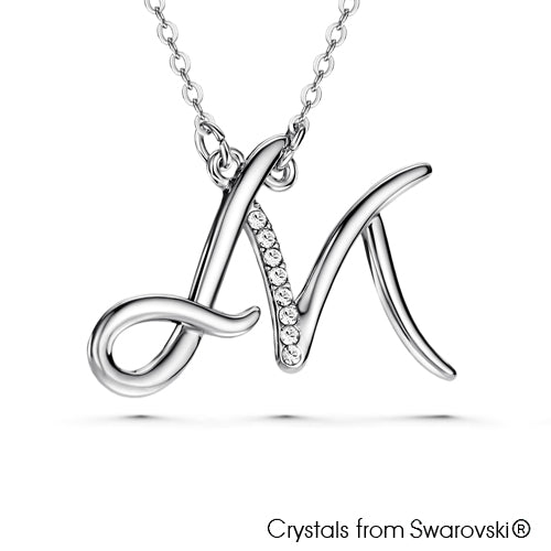 Alphabet M Necklace (Clear Crystal, Pure Rhodium Plated) - Lush Addiction, Crystals from Swarovski®
