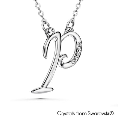 Alphabet P Necklace (Clear Crystal, Pure Rhodium Plated) - Lush Addiction, Crystals from Swarovski®