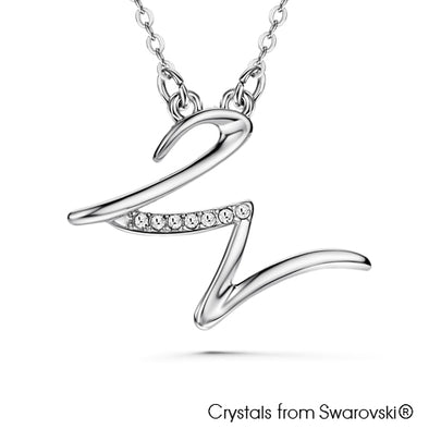 Alphabet W Necklace (Clear Crystal, Pure Rhodium Plated) - Lush Addiction, Crystals from Swarovski®
