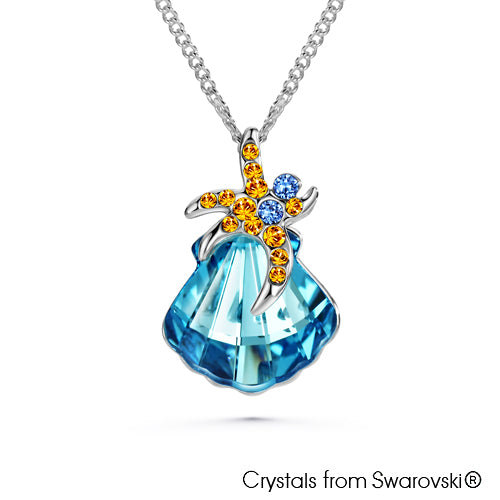 Sea Shell Necklace (Aquamarine, Pure Rhodium Plated) - Lush Addiction, Crystals from Swarovski®