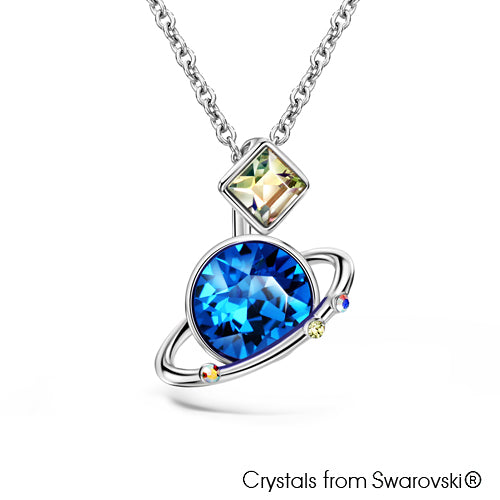 Galaxy Necklace (Aquamarine, Pure Rhodium Plated) - Lush Addiction, Crystals from Swarovski®