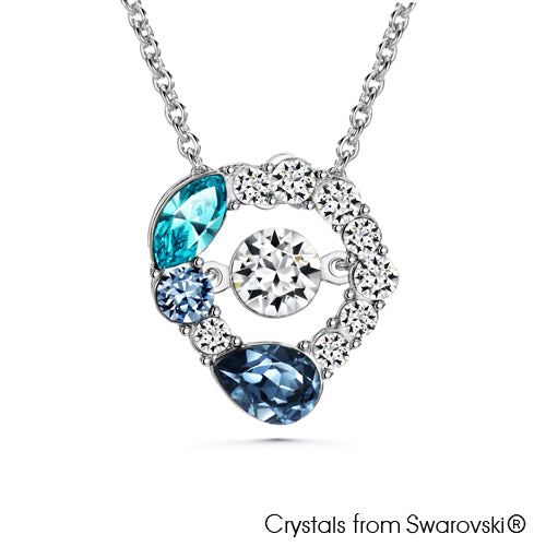Enchanting Necklace with Dancing Crystal (Multi-Colour, Pure Rhodium Plated) - Lush Addiction, Crystals from Swarovski®