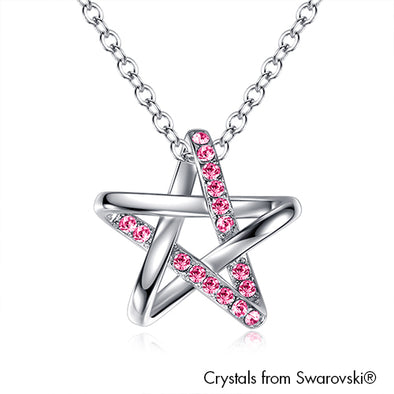 Stellar Necklace Rose Pure Rhodium Plated Lush Addiction Crystals from Swarovski