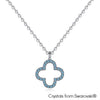 Lucky Clover Necklace (Aquamarine, Pure Rhodium Plated) - Lush Addiction, Crystals from Swarovski®