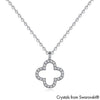 Lucky Clover Necklace (Clear Crystal, Pure Rhodium Plated) - Lush Addiction, Crystals from Swarovski®
