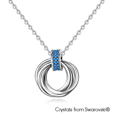Interlink Halo Necklace (Sapphire, Pure Rhodium Plated) - Lush Addiction, Crystals from Swarovski®