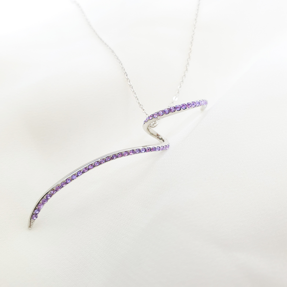 Statement Necklace Violet Pure Rhodium Plated Lush Addiction Crystals From Swarovski