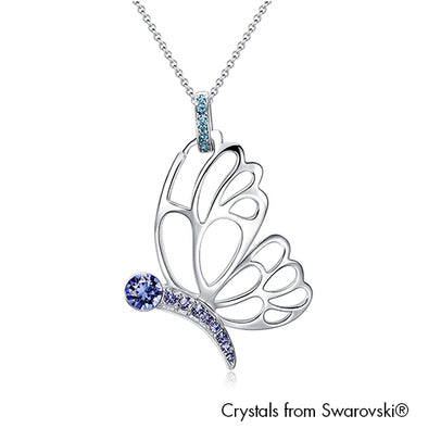 Butterfly Necklace Aquamarine Pure Rhodium Plated Lush Addiction Crystals from Swarovski