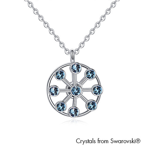 Ferris Wheel Necklace Aquamarine Pure Rhodium Plated Lush Addiction Crystals from Swarovski