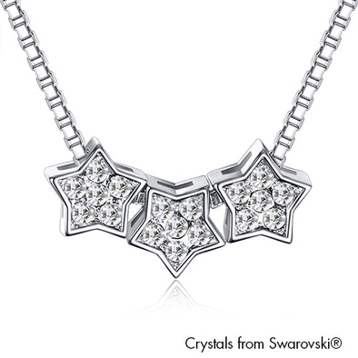 Twinkle Stars Necklace (Clear Crystal, Pure Rhodium Plated) - Lush Addiction, Crystals from Swarovski