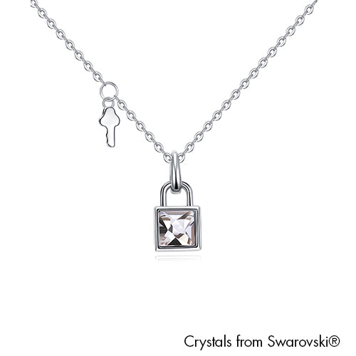 Lock Necklace Clear Crystal Pure Rhodium Plated Lush Addiction Crystals from Swarovski