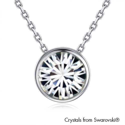 Solitaire Necklace Clear Crystal Pure Rhodium Plated Lush Addiction Crystals from Swarovski