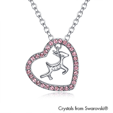 Reindeer Necklace (Light Rose, Pure Rhodium Plated) - Lush Addiction, Crystals from Swarovski®