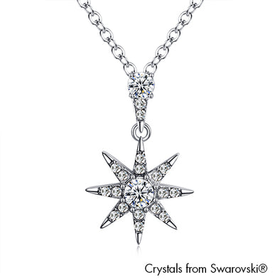 Starry Necklace (Clear Crystal, Pure Rhodium Plated) - Lush Addiction, Crystals from Swarovski