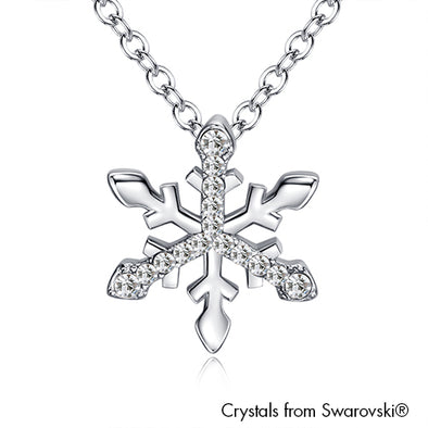 Snowflake Necklace (Clear Crystal, Pure Rhodium Plated) - Lush Addiction, Crystals from Swarovski