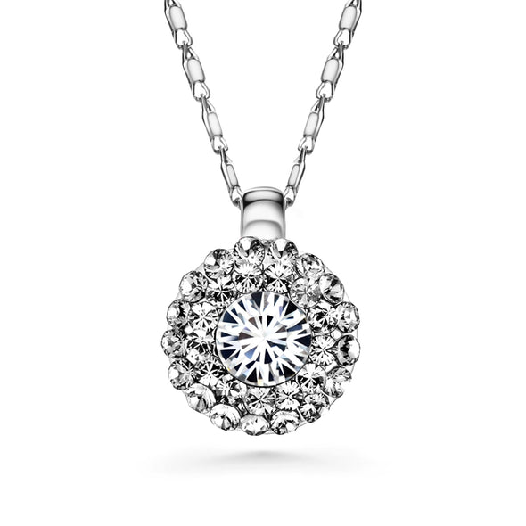 Cloris Necklace (Clear Crystal, Pure Rhodium Plated) - Lush Addiction, Crystals from Swarovski®