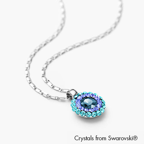 Cloris Necklace (Capri Blue, Pure Rhodium Plated) - Lush Addiction, Crystals from Swarovski®