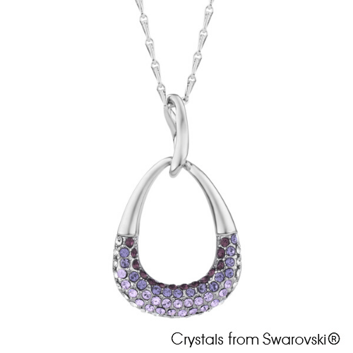 Zuri Necklace (Amethyst, Pure Rhodium Plated) - Lush Addiction, Crystals from Swarovski