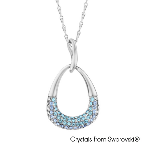 Zuri Necklace (Aquamarine, Pure Rhodium Plated) - Lush Addiction, Crystals from Swarovski