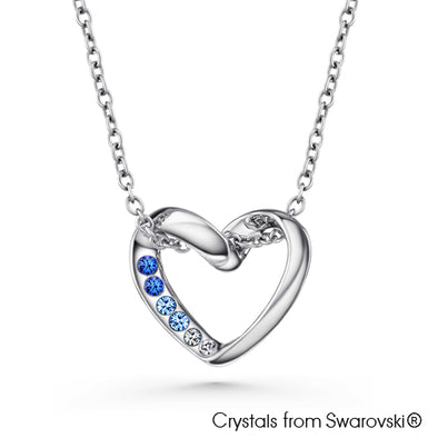 Luvina Necklace (Sapphire, Pure Rhodium Plated) - Lush Addiction