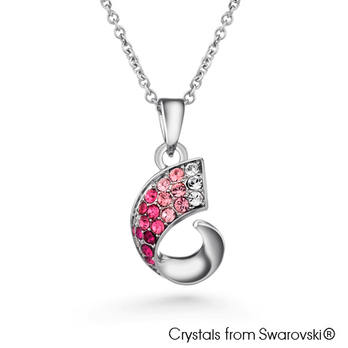 Carwen Necklace (Fuchsia, Pure Rhodium Plated) - Lush Addiction, Crystals from Swarovski