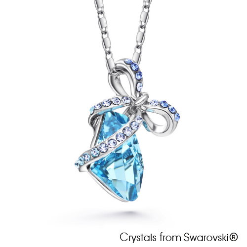 Natasha Necklace (Aquamarine, Pure Rhodium Plated) - Lush Addiction, Crystals from Swarovski®