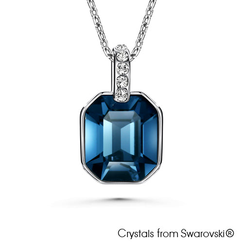 Hillary Necklace (Montana, Pure Rhodium Plated) - Lush Addiction, Crystals from Swarovski®