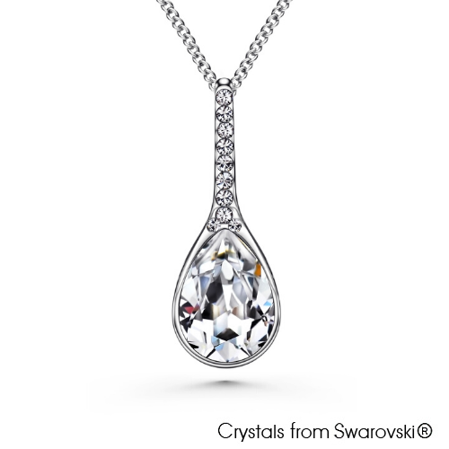 Tia Necklace Clear Crystal Pure Rhodium Plated Lush Addiction Crystals from Swarovski