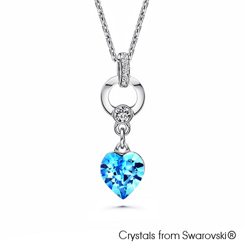 Devoted Heart Necklace (Aquamarine, Pure Rhodium Plated) - Lush Addiction, Crystals from Swarovski®