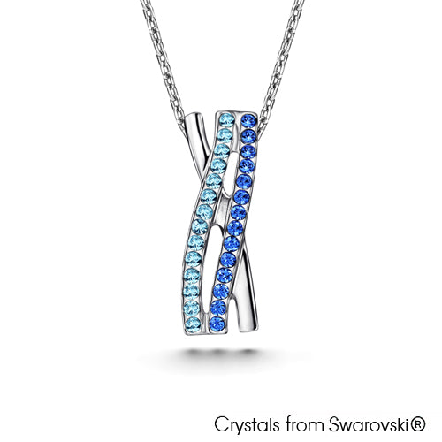 Elnora Necklace (Sapphire, Pure Rhodium Plated) - Lush Addiction