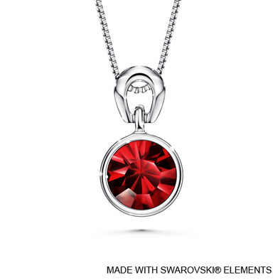 Solitaire Birthstone Necklace (Garnet, Pure Rhodium Plated) - Lush Addiction, Crystals from Swarovski®