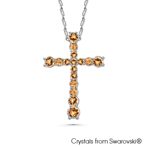 Chrys Necklace (Light Colorado Topaz, Pure Rhodium Plated) - Lush Addiction, Crystals from Swarovski®