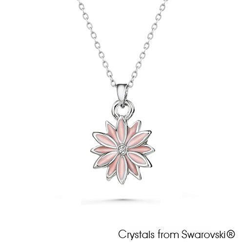 Daisy Necklace (Light Rose, Pure Rhodium Plated) - Lush Addiction, Crystals from Swarovski®