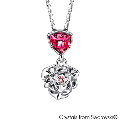 Trilliant Rose Necklace (Rose, Pure Rhodium Plated) - Lush Addiction, Crystals from Swarovski®