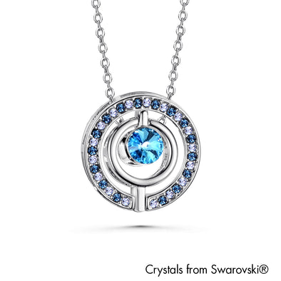 Three Way Necklace (Aquamarine, Pure Rhodium Plated) - Lush Addiction, Crystals from Swarovski®